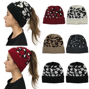 Mulheres Beanie Chapéus de Inverno Rabo Gorro Quente Acrílico Leopard Estilo Gorras Bonnet para meninas Chapéu 5 cores