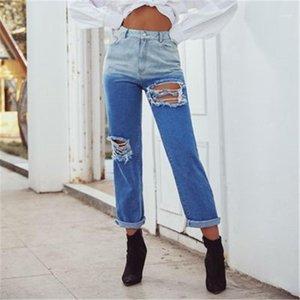 Retas Buracos Denim Trousers Fashion Trend Feminino Casual soltas Jeans Ladies rasgado retro Contraste Jeans Designer Mid cintura Zipper
