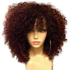 Кружевные парики kinky Кудрявые человеческие волосы парик волос с натуральными волосами натуральный станок для кожи головы, сделанные для чернокожих женщин бразильские реми на 180%.
