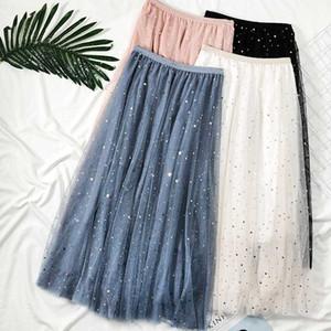 Zoki Elegant Korean Women Tulle Skirt Fashion Sequin Star Summer Mesh Ladies Long Skirt Elastic High Waist Party White