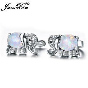 JUNXIN Серебряный цвет Симпатичные слон серьги синий / белый огненный опал серьги Шпильки Pave Кристалл CZ Свадебные украшения