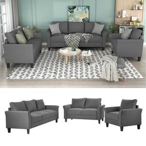 ABD Stok 3-5 Günlük Teslimat U_Style Polyester-Blend 3 Parça Kanepe Seti Oturma Odası Seti Oturma Odası Mobilya WY000036EAA