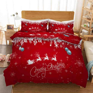 49 Claus Bell Printed Bedding Set Quilt cover Pillowcase Duvet Cover christmas gift for kids luxury bedclothes Queen Size