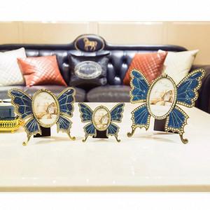 European Metal Schmetterlings-Foto-Rahmen-Dekoration Paar Diamant-Foto-Feld Wohnzimmer Schlafzimmer Desktop-Dekoration Geburtstags-Geschenk 4HuG #