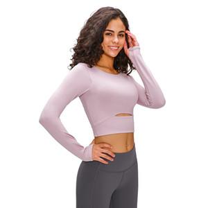 2020 Long Sleeve Gym Yoga Sports Cortar Tops treino sem emenda camiseta Mulher da aptidão do esporte T-shirt de Top mulheres para mulheres Sportswear