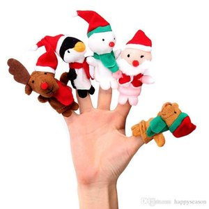 5pcs set Christmas Finger Puppets Plush Toys Cartoon Santa Claus Snowman Deer Hand Puppet Christmas Stuffed toy For Kids