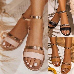 Mesdames serpent d'été de plage imprimé à bout ouvert cheville Boucle Sandales Femme 2020 avec boucle cheville Sandales Romaine Casual Chaussures plates D30