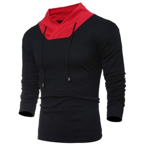 Contrast Color Panelled Designer Mens Knitted Tshirts Long Sleeve Turtle Neck Tops Autumn Casual Male Clothes