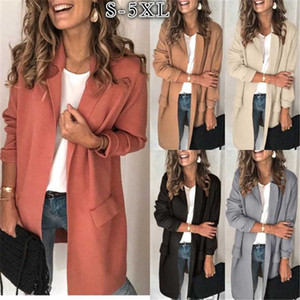 2020 Spring Autumn Fashion New Solid Color Suit Collar Long Sleeve Fake Pocket Casual Suit Coat Women's Tide H1060