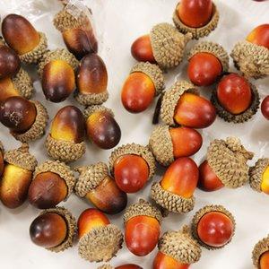 20pcs 3.3x2.3cm Artificial Simulation Small Acorn Plant Decoration Fake Fruit Autumn Home House Kitchen Decor Photography Props C0927
