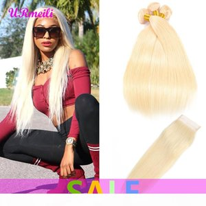 Straight Virgin Human Hair Weave 613 Blonde Bundles With Closure Peruvian Remy Straight Human Hair 3 4 Bundles With Closure Free Shipping