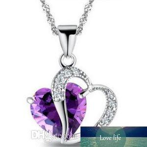 Top-Herz-Kristall-Halskette Amethyst Halskette Modeklasse der Frauen-Mädchen-Dame Elemente Schmuck Herz Halskette 925 silberne Halskette