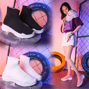 Spring Women's Ankle boots Chunky Sneakers Tenis Basket Women Casual Platform Shoes Stretch Elastic Sock Shoes High Top Black