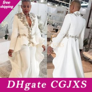 White Jumpsuits African Prom Dresses Plus Size Long Sleeves 2019 Evening Dresses Cheap V Neck Lace Formal Party Bridesmaid Pageant Gowns