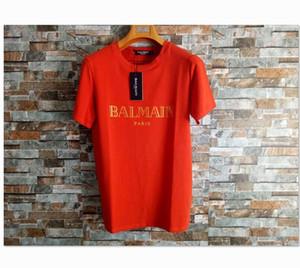 Мода Balmain Mens Стилист футболки лета тенниска Letters печать высокого качества тенниска Hip Hop Мужчины Женщины с коротким рукавом Тис Размер S-3XL
