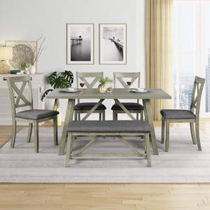 6 Piece Gray Dining Table Set Wood Dining Table and chair Kitchen Table Set with Table, Bench and 4 Chairs, Rustic Style SH000109AAE