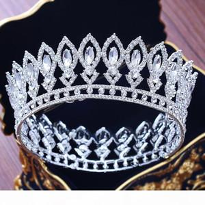 Stunning Silver Crystal Full Circle Braut Königin-Krone Luxus-Hochzeit Wettbewerb-Tiara-Krone für Braut Haarschmuck Zubehör C19041101