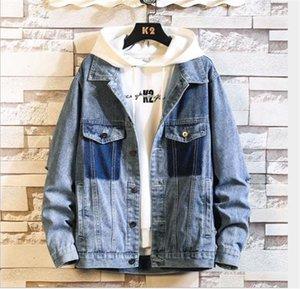 Clothing Fashion Packet Long Sleeve Oversize Mens Designer Denim Blue Jacket Coats Hombres Lapel Neck with Button