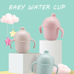 240ml Wheat straw Healthy Portable Water Cup Children's Drink Cup Cute Mini Covered Water Cup Children Water Bottle
