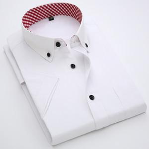 Männer Shirts Marken-Sommer-Mann Formal Business Social Kurzarmhemden Slim Fit Mens Dress Nicht-Eisen-Fest Shirts T200801