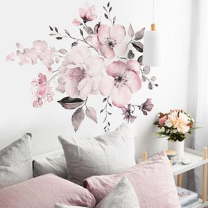 Room decor wall stickers decoration Pink White Peony Flowers Wall Stickers Wall Decal for Wedding Home Decor