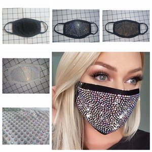 Rhinestones Face Mask Sequins Mouth Cover Mask Fashion Masquerade Bling Protective Dustproof Washable Reusable face Mask YYA483-1