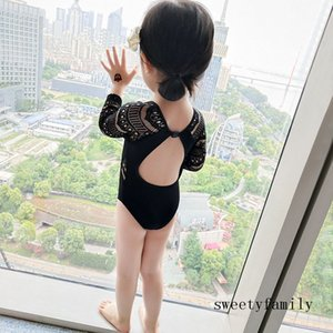 Backless Swimsuit For Kid Sexy Waist Lace Hollowed Out Swimsuit New Retro Little Girl Black Sexy Bikinis Swimwear One-piece