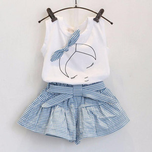 Kids Girls Cute Bow Girl Pattern Shirt Top Grid Shorts Set Clothing fashionable baby clothes drop shipping August 9