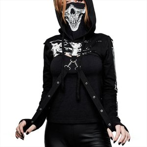 Women Skull Print Hoodie Sweatshirt Drawstring Hooded Top Goth Casual Streetwear Cool Sexy Navel Cropped Black Hoodies