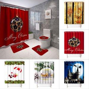 Navidad paisaje alfombra impresa cortina de ducha de 4 piezas de baño alfombra del piso tapa del inodoro no deslizamiento estera de baño conjuntos de cortina de ducha