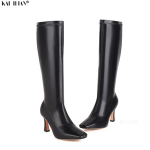 Boots Shoes Women Winter Gothic Knee High Leather Heels 2021 High-quality Femmes Bottes Ladies Plus Size 44 45 43