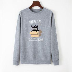 New Ninja Cat Print Women Hoodie Long Sleeve Pullover Womens Sweatshirt Autumn Hoodies Women O NECK Clothes Casual Tops