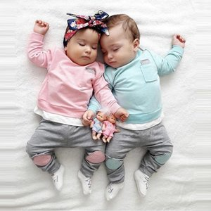 and Top Fashion Cute Infant Newborn Girl Clothes Hooded Sweatshirt Pants 2pcs Outfit Cotton Baby Tracksuit Set 827 Deals