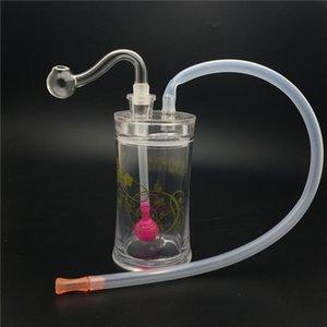 aceite de tubo quemador cilíndrico de mini pipas plataforma petrolífera Bong Montado tuberías de agua fumar portátiles con 10mm tazón masculina y la manguera