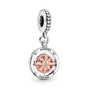 ALE auténtica 925 encantos de plata de ley 2020 de nuevos clubes Brújula cuelgan cuentas pendientes de ajuste pulseras de Pandora o un collar para la joyería de bricolaje