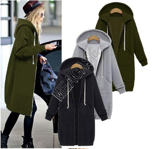 D82606 Capa Caliente con capucha larga de las mujeres polar chaqueta de lana abrigos completa de la cremallera otoño invierno sudaderas de mitad de longitud Zip Coats outwear