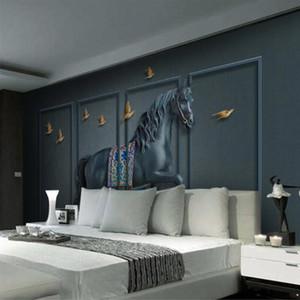 Ordinazione murale tridimensionale schermo Relief Horse Wallpaper nuovo stile cinese per Soggiorno Camera da letto 3D Wallpaper Wall Decor