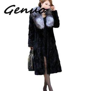 Genuo Yeni 2020 Plus Size Kış Kadın Ceketler Eklenmiş İmitasyon Coat Fur Yaka Lady Hendek X-Long Dış Giyim