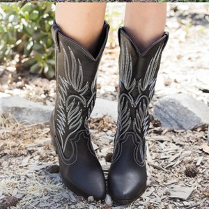 Women Boots Slip On Mid-calf Boots Ladies Embroidery PU Leather Cone Heels Woman 2020 New Autumn Winter Fashion Female Footwear