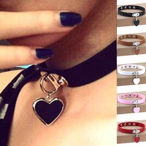 Mode Punk Chokers Süße Herz Halskette PU Leder Choker Halsketten Punk Goth Kragen Halskette Für Frauen Schmuck