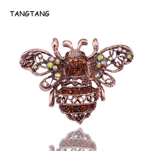 Vintage Red Bronze Plated Bee Brooch Rhinestone Crystal Pins With Yellow AB Color Stones Hot Sale Jewelry 2020 Item NO.: BH7036