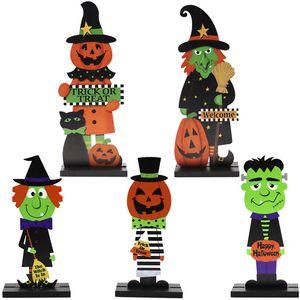 Decoração de Halloween de madeira Craft abóbora do gato da bruxa Início Tabela Ornamentos Crianças Dia das Bruxas Truque de madeira ou Crafts Tratar