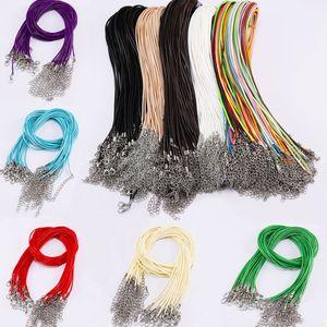 10pcs / set Multicolor PU cire en cuir fil Collier Bracelet fil Extender chaîne avec mousqueton DIY pas cher Bijoux