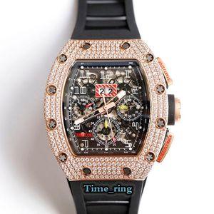 Top versão RM011 Skeleton Dial Rosa do diamante de Ouro 7750 mecânico automático Movimento RM011 Mens Watch Black Rubber Strap Luxry Relógios