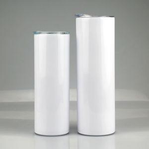 20Oz Sublimation Gerade Tumbler Doppel Wand Vakuum Gerade Tasse Wärmeübertragung Drucken Isolierte Edelstahl Trinkflasche