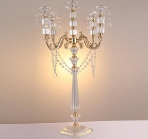"""Acrylic Candle Holders 5-arms Candelabras With Crystal Pendants 77CM 30"""" Height Elegant Wedding Centerpiece 1 lot=10 pieces"""