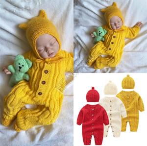 2020 Дети Детские Твист Вязать Ромпер Цельный с длинным рукавом свитера и шляпа набор кнопок Комбинезоны 2 шт Осень Зима Детская одежда D82407