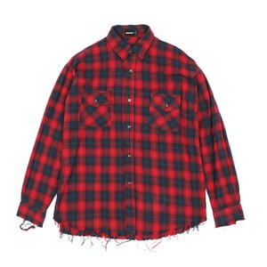 Brand Fashion Hiphop Mens Raw Edge Flannel Shirts Oversized Plaid Tartan T-shirt Streetwear Clothing