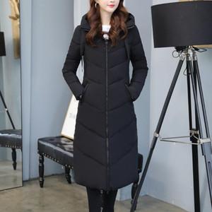 Gran bolsillo Mujeres Parques Tops Femenino Escudo Ropa de invierno chaqueta de invierno abrigos esquimales Prendas de vestir exteriores larga de gran tamaño Moda abrigos para mujer # G30