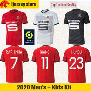 20 21 Rennais Camisas de Futebol 2020 2021 Stade Rennais HUNOU NIANG Camisa de Futebol RAPHINHA Jersey MAOUASSA DEL CASTILLO Kit para homem e criança